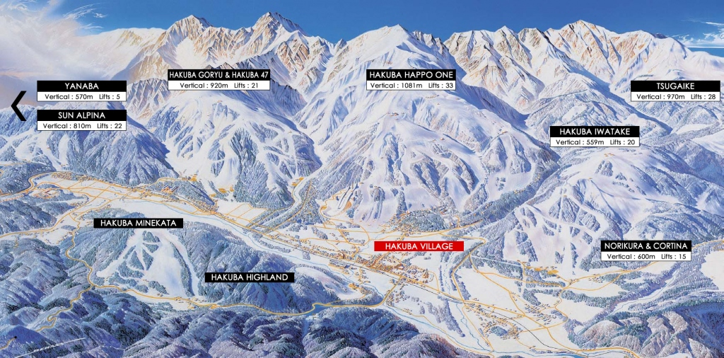 Map of Ski Resorts around hakuba