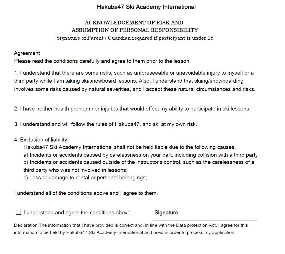Hakuba Ski School Risk And Personal Responsibility