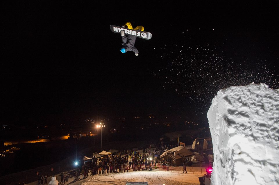 hakuba 47 instructor competing at a snowboard big air event